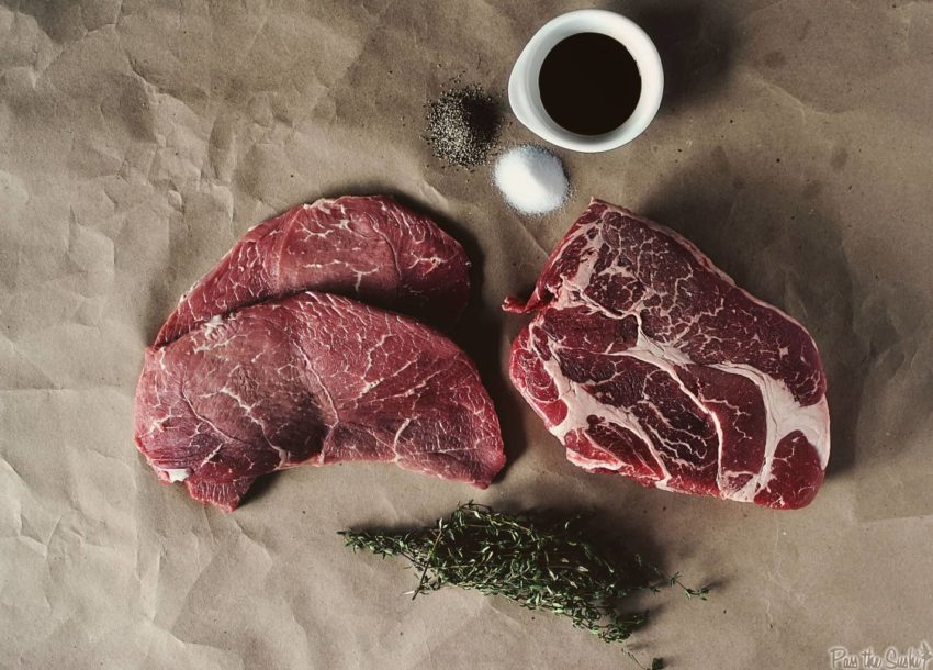 Boneless chuck roast and seasonings for grinding | Kita Roberts GirlCarnivore.com