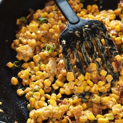 Quick and Easy Creamy Skillet Corn from GirlCarnivore.com