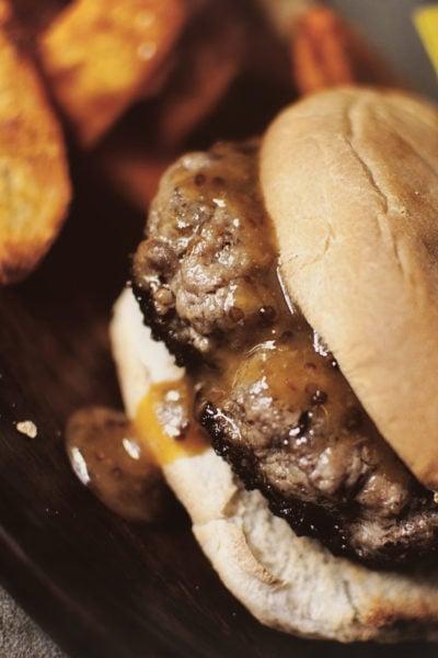 Sausage Burgers with Sriracha-Honey-Mustard Sauce | Kita Roberts GirlCarnivore.com