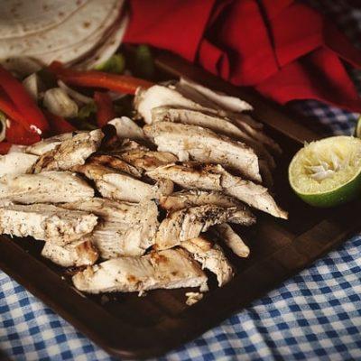 Charcoal Grilled Chicken Fajitas via GirlCarnivore.com
