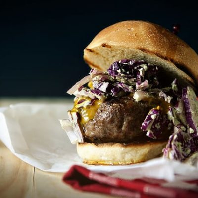 Carolina Burgers with Mustard BBQ Sauce and Green Onion Slaw