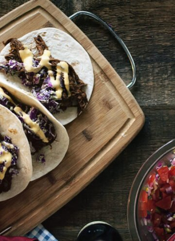 BBQ Brisket Tacos with Dubliner Cheese Sauce | Kita Roberts GirlCarnivore.com