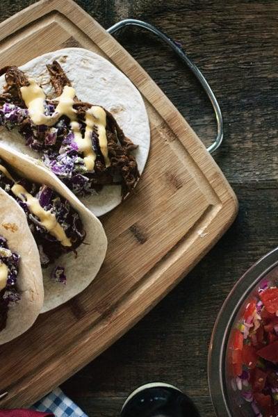 BBQ Brisket Tacos with Dubliner Cheese Sauce | Kita Roberts GirlCarnivore.com