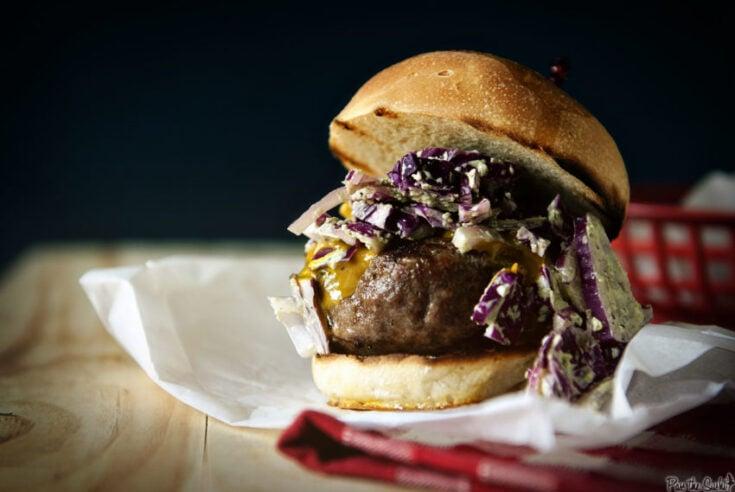 Carolina Burgers with Mustard BBQ Sauce and Green Onion Slaw