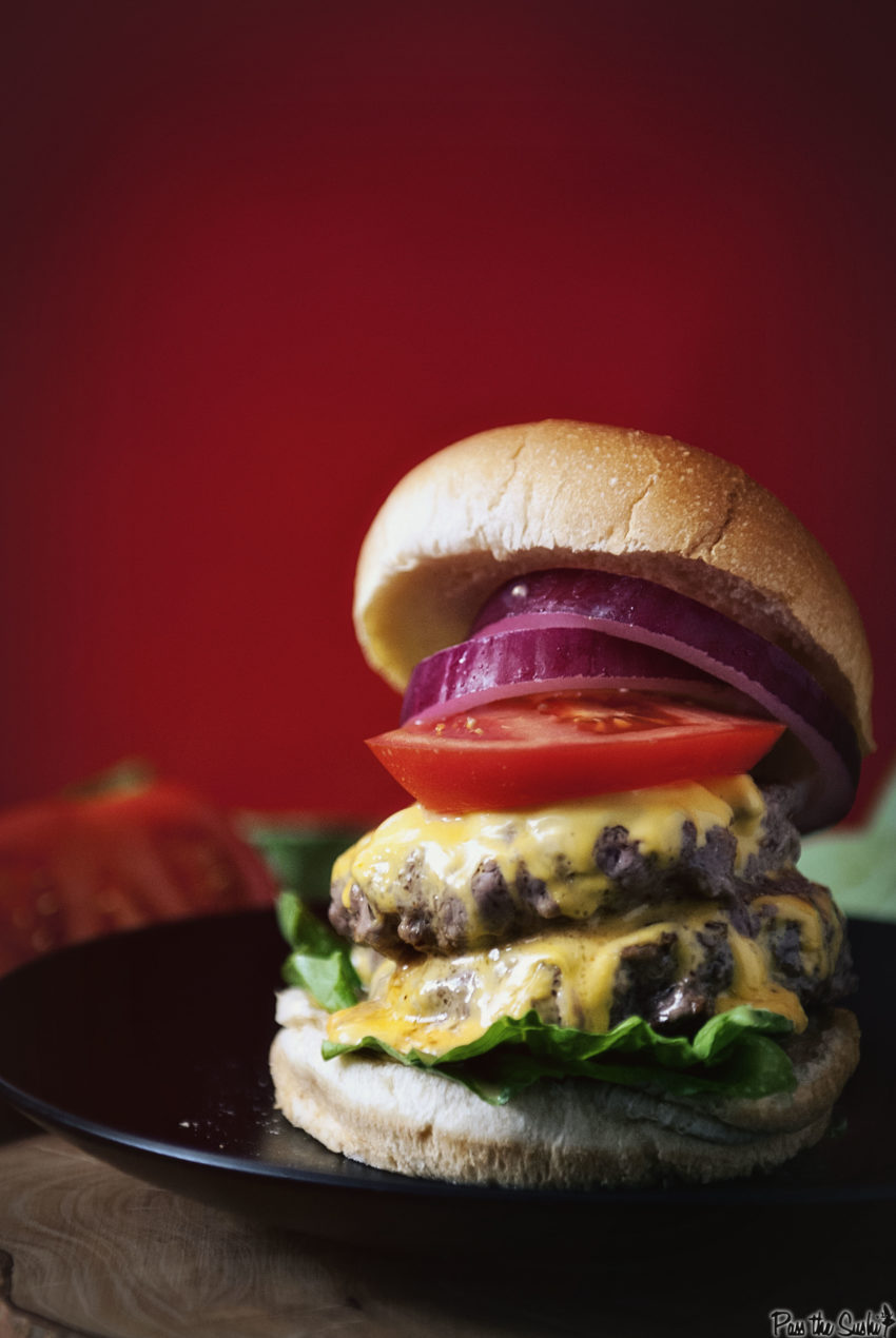 Garlic Chipotle Double Down Burger | Kita Roberts GirlCarnivore.com