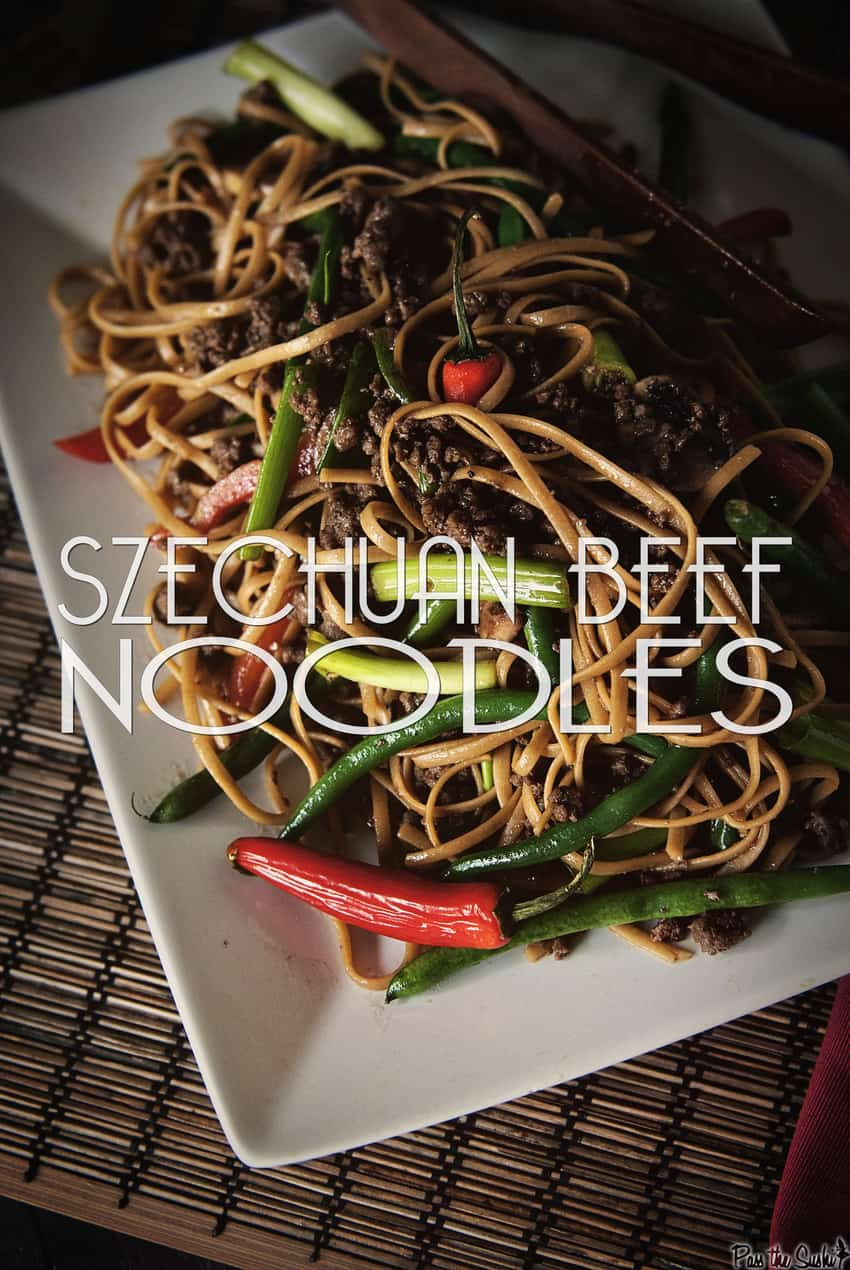 Szechuan Beef Noodles on a white serving dish
