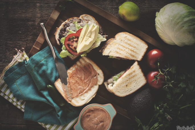 ground beef, lettuce, tomato, avocado and toasted bread. yeah, this is good.