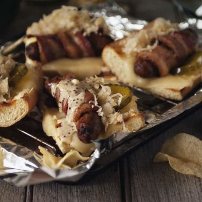Bacon Wrapped Beer Brats