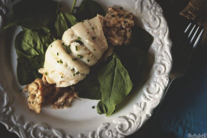 A tender Flounder filet wrapped around a veritable pile of crab. Yeah, the spinach is just there for color. Eat up!