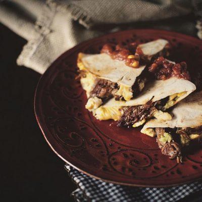 BBQ Pork Breakfast Quesadilla