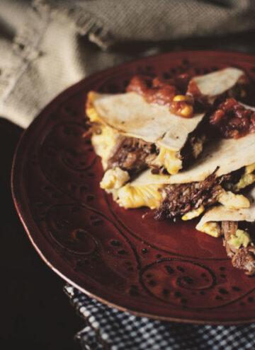 BBQ Pork Breakfast Quesadilla | Kita Roberts GirlCarnivore.com