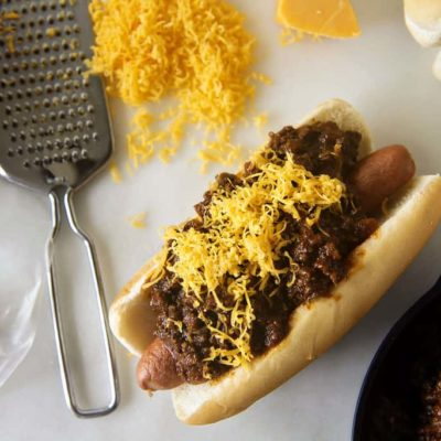Chili Cheese Dog with Spicy Southwest Hot Dog Chili
