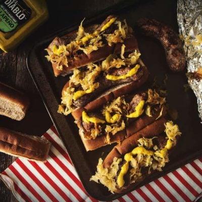 Spicy Mustard Brats with Sauerkraut