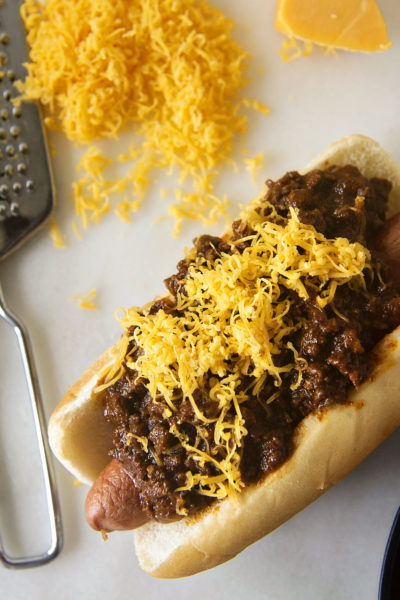 Chili Cheese Dog with Spicy Southwest Hot Dog Chili | Kita Roberts GirlCarnivore.com