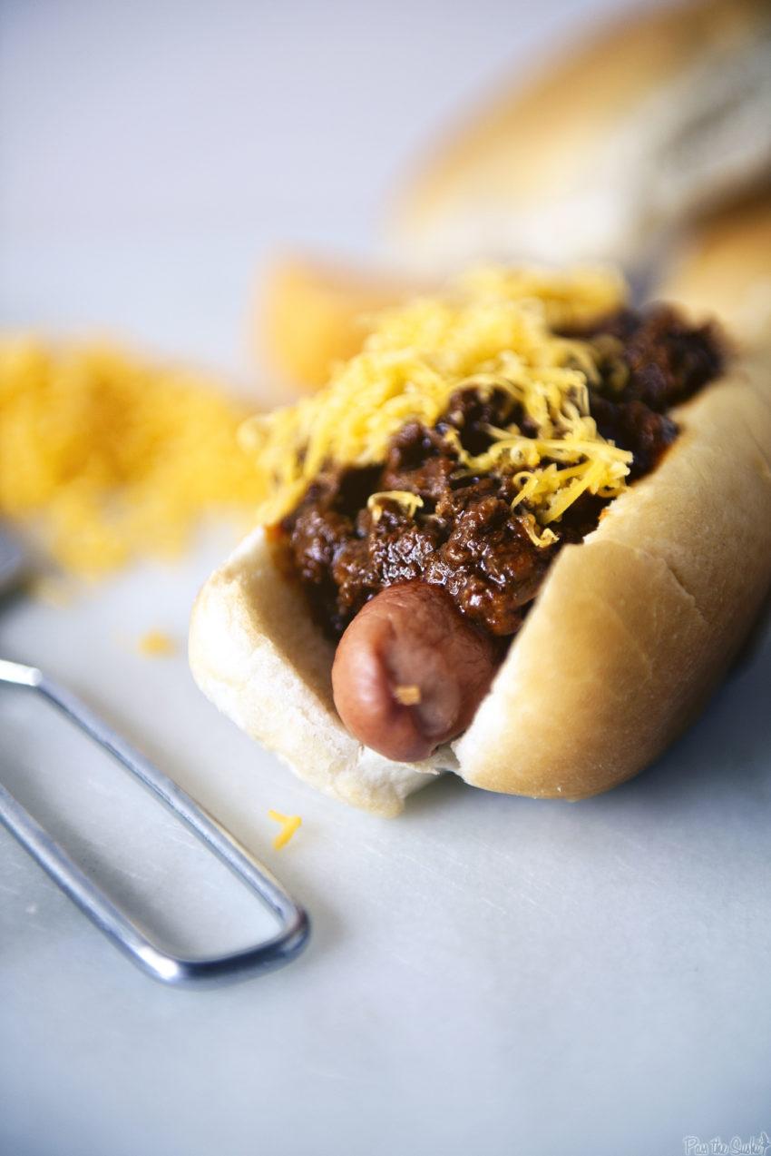 Chili Cheese Dog with Spicy Southwest Hot Dog Chili | Kita Roberts GirlCarnivore.com