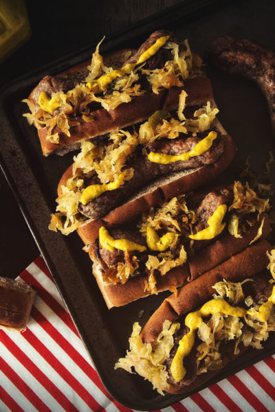 Spicy Mustard Brats with Sauerkraut | Kita Roberts GirlCarnivore.com