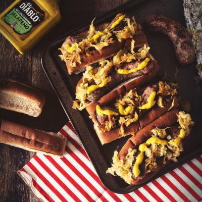 Spicy Mustard Brats with Sauerkraut   Kita Roberts GirlCarnivore.com