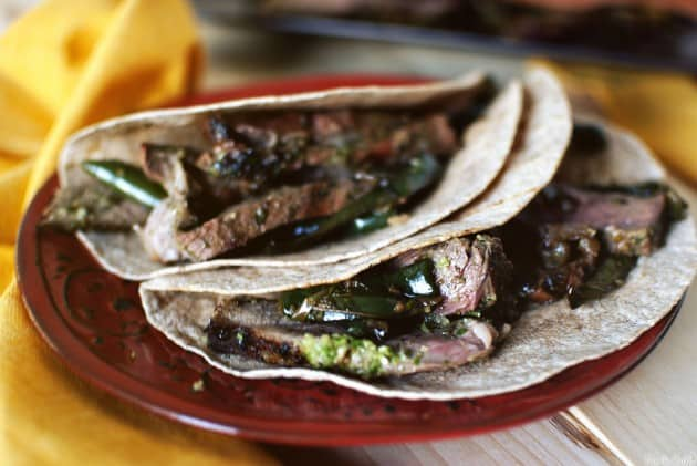 Steak Fajitas with Chimichurri and Drunken Peppers