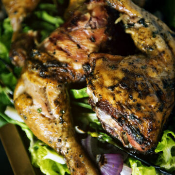 Smoked Leg Quarters with Grilled Avocado, Scallion, and Red Onion | Kita Roberts GirlCarnivore.com