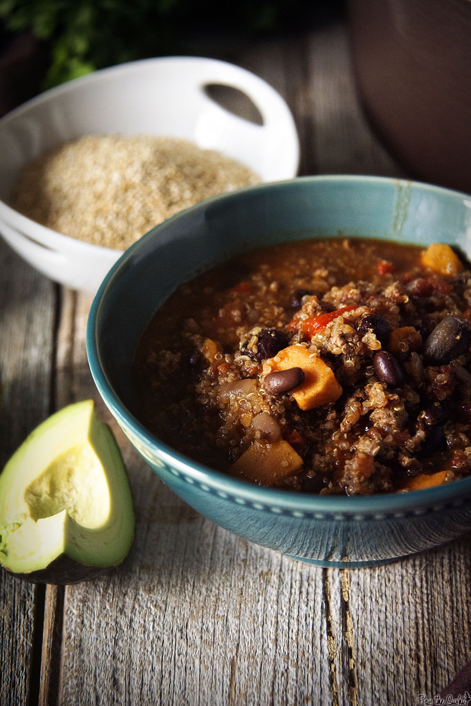 This heart bowl of Chili is loaded with Turkey, Quinoa, Sweet Potatoes and black beans. Grab a bowl, it's on!