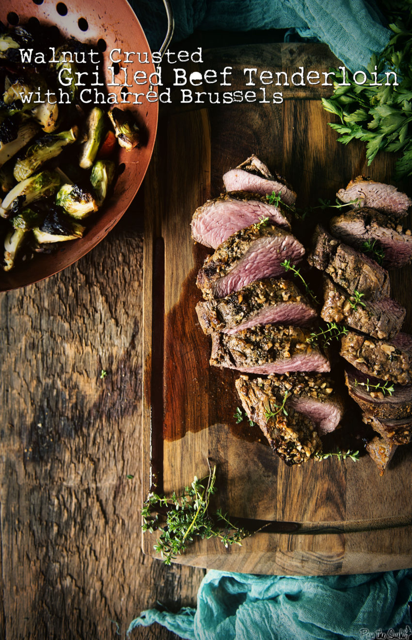 Walnut Crusted Grilled Beef Tenderloins with Charred Brussels | Kita Roberts GirlCarnivore