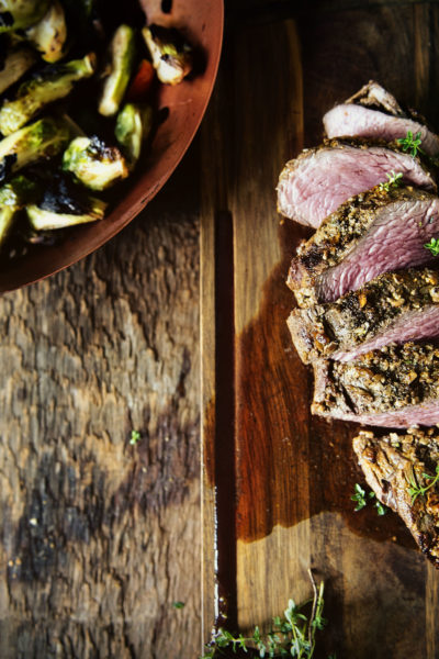 Walnut Crusted Grilled Beef Tenderloins with Charred Brussels   Kita Roberts GirlCarnivore.com