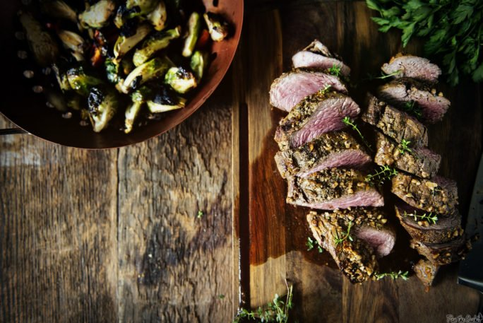 Walnut Crusted Grilled Beef Tenderloins with Charred Brussels | Kita Roberts GirlCarnivore.com