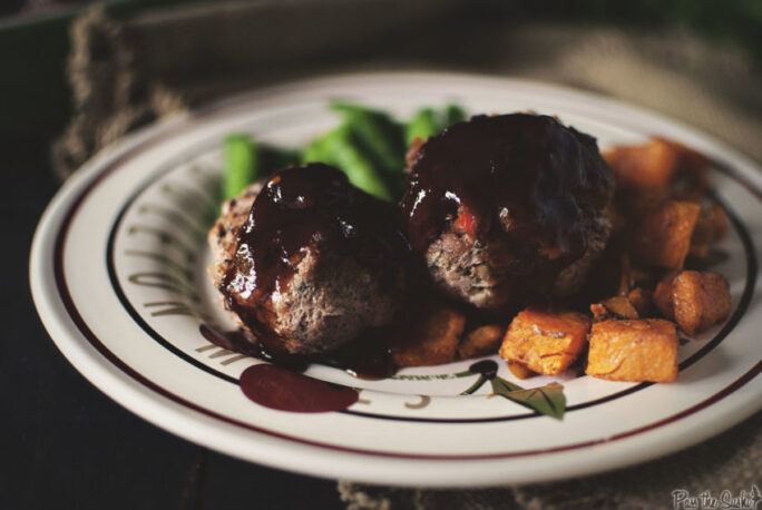 Two petit Turkey Meatloaves slathered in BBQ sauce. This is miniature magic right here.