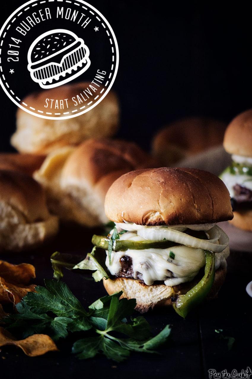 Philly Cheesesteak Burger Recipe with Roasted Garlic Aioli | Kita Roberts GirlCarnivore.com