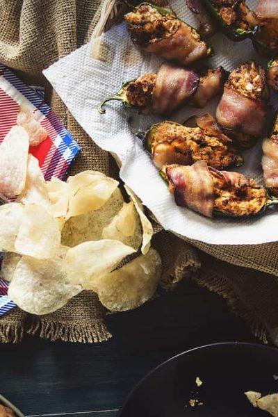 Bacon Wrapped Chorizo Stuffed Jalapeno Poppers