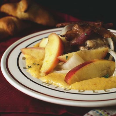 Chicken Thighs with Apples & Onions Over Cheddar Polenta