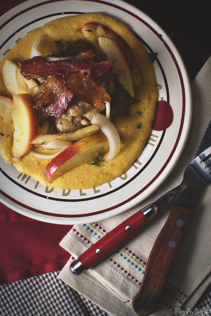 Chicken Thighs with Apples & Onions Over Cheddar Polenta | Kita Roberts GirlCarnivore.com