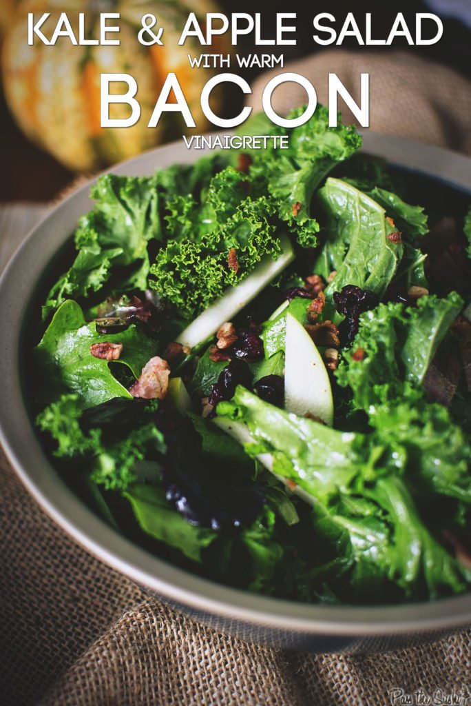 Kale & Apple Salad with Warm Bacon Vinaigrette | Kita Roberts GirlCarnivore.com