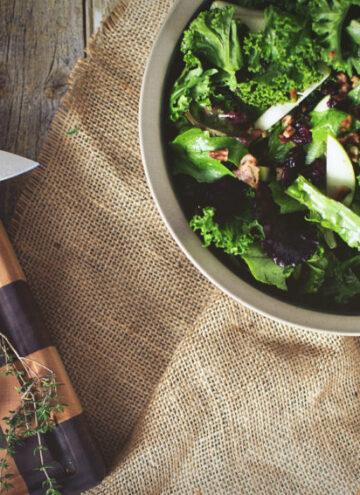 Kale & Apple Salad with Warm Bacon Vinaigrette | Kita Roberts GirlCarnivore.com