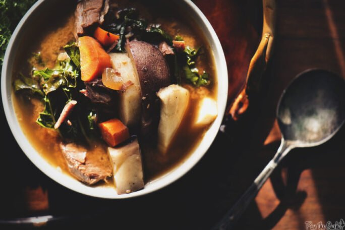 Look goodness is loaded into this bowl! Beef, parsnips, potatoes, carrots, kale, the list goes on. You could eat this beef stew with a fork.
