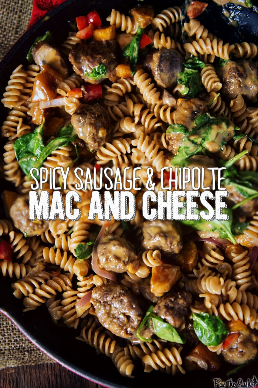Spicy Sausage & Chipolte Mac and Cheese | Kita Roberts GirlCarnivore.com