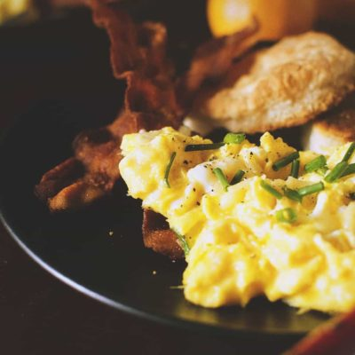 Perfectly Fluffy Scrambled Eggs with Bacon Fat Fried Biscuits