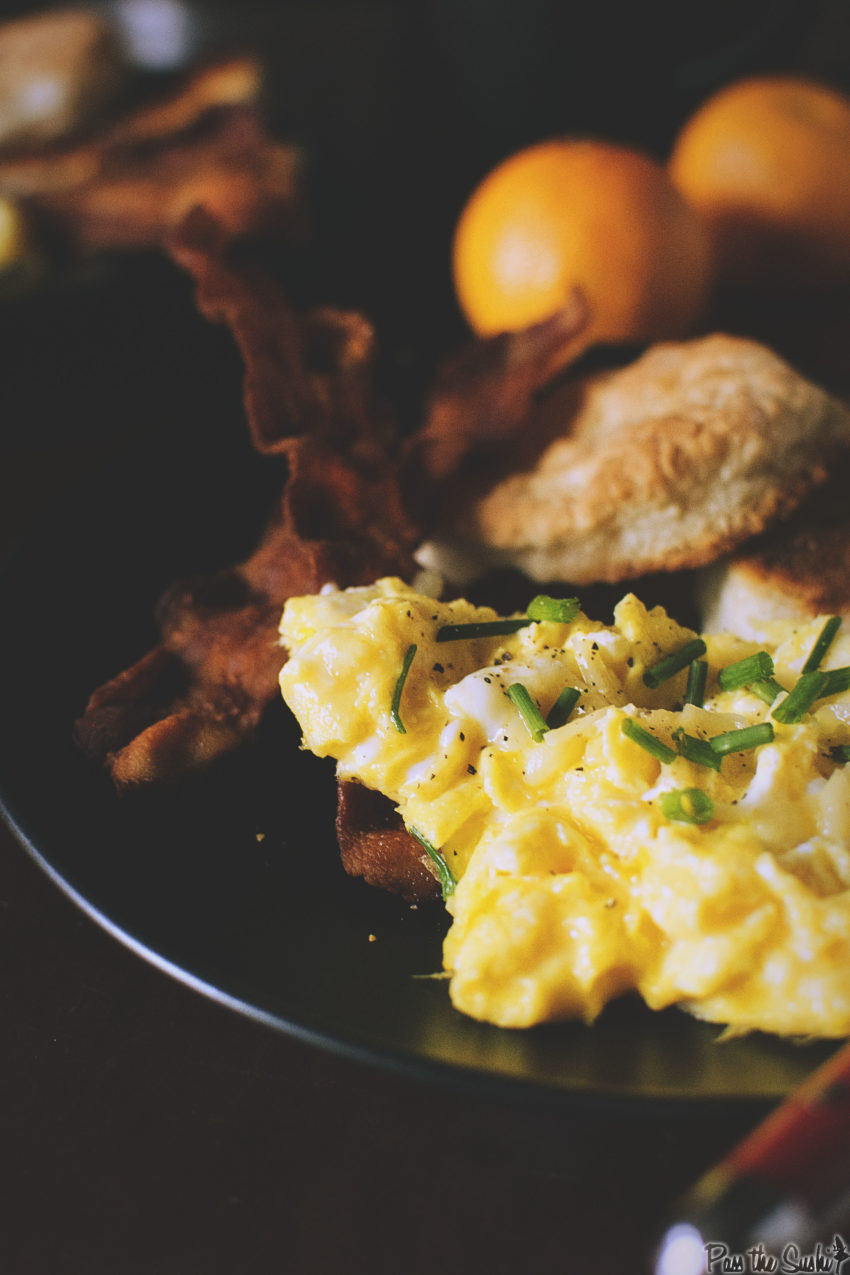 Perfectly Fluffy Scrambled Eggs with Bacon Fat Fried Biscuits | Kita Roberts GirlCarnivore.com