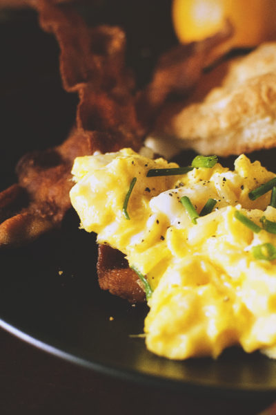 Perfectly Fluffy Scrambled Eggs with Bacon Fat Fried Biscuits   Kita Roberts GirlCarnivore.com