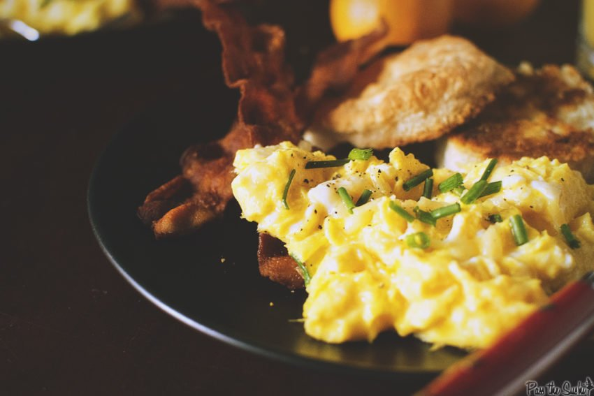 Perfectly Fluffy Scrambled Eggs with Bacon Fat Fried Biscuits - Girl Carnivore