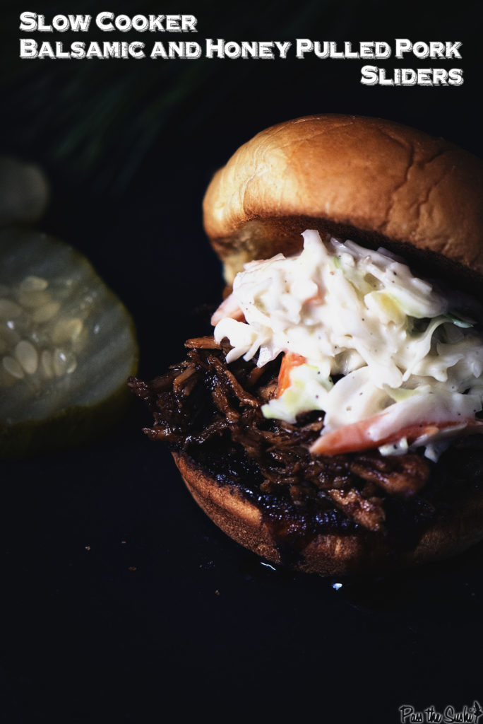 Slow Cooker Balsamic and Honey Pulled Pork Sliders | Kita Roberts GirlCarnivore.com