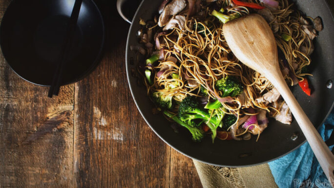 A big wok and a wooden spoon. This girl doesn't need much else to whip up an amazing meal. Keep reading to find out how to serve this up in almost no time!