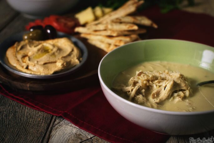 Lemon Soup served with hummus olives and pita. Yeah, that's some Mediterranean magic.