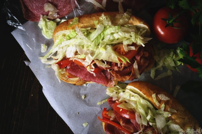 Grilled Italian Hoagies on paper. So much meat, so much lettuce, so much sandwich!