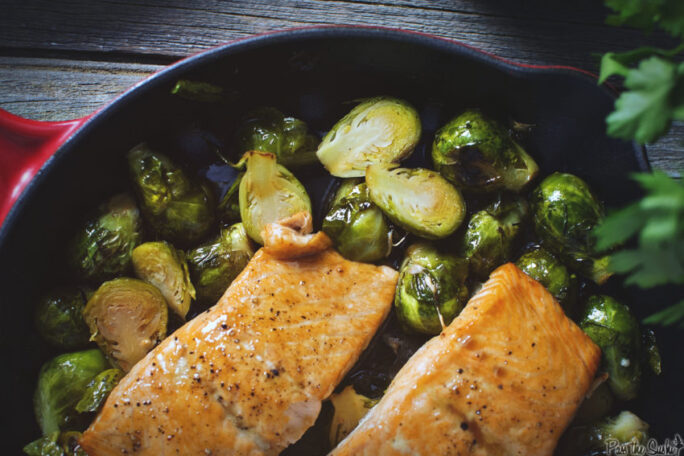 Salmon and Brussels sprouts in a skillet. This is going to be good!