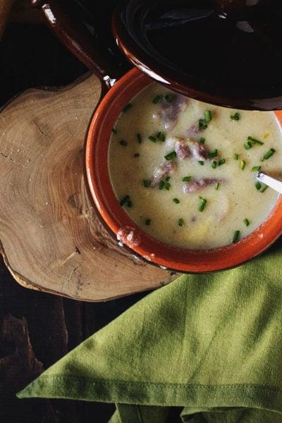 Cheesy Cauliflower and Ham Soup | Kita Roberts PassTheSushi.com