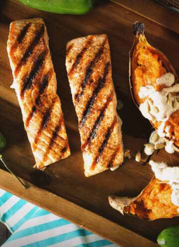 Ancho Rubbed Grilled Salmon with Nogada Sauce | Kita Roberts GirlCarnivore.com