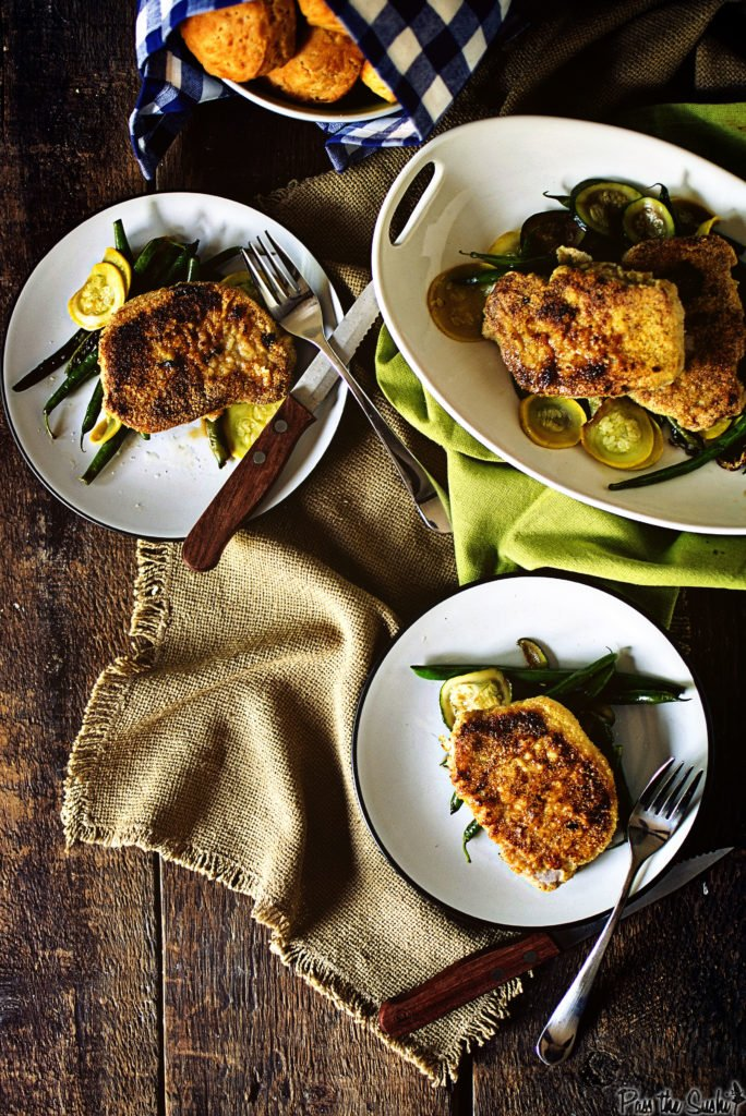 Can you look at this and not be inspired? A feast of pork chops laid out over green beans and summer squash, a basket of corn muffins, if you aren't down with this, I don't think we can be friends.