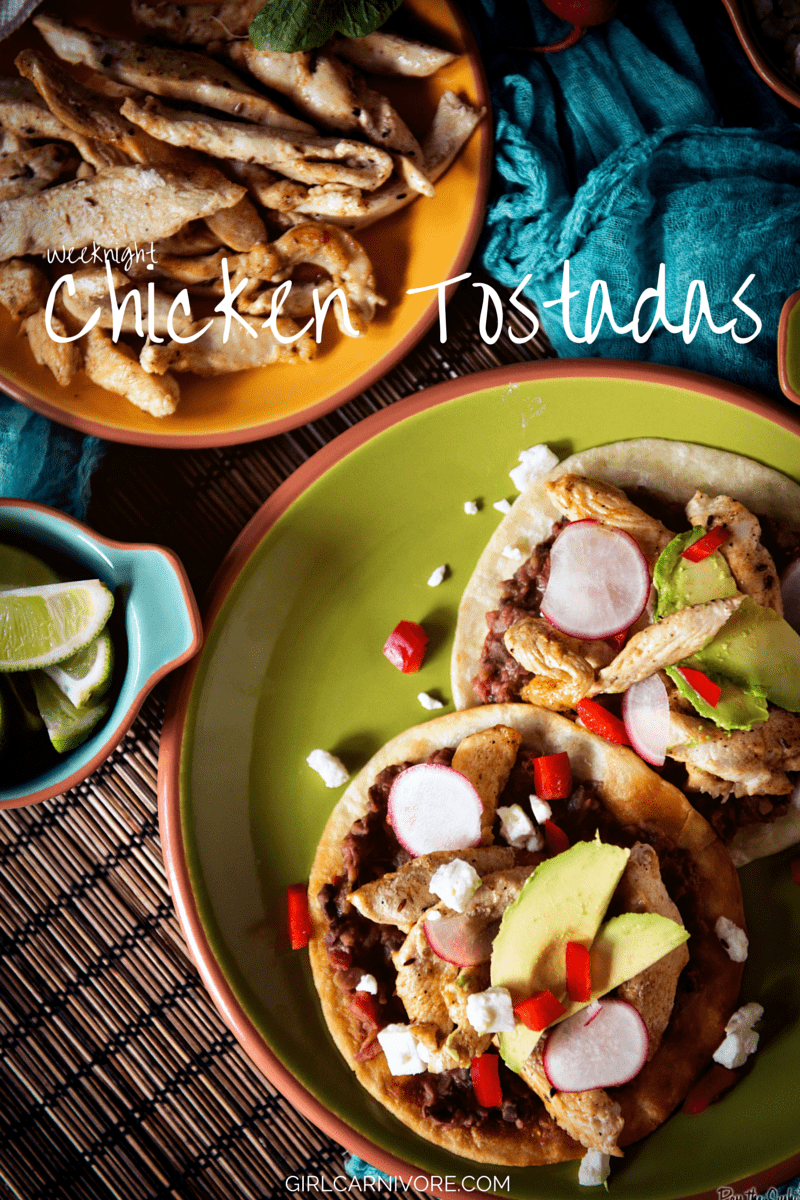 Weeknight Chicken Tostadas // GirlCarnivore.com