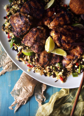 Grilled Chicken Thighs with Ancho Rub | Kita Roberts GirlCarnivore.com